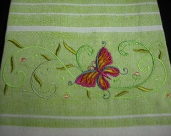 Butterfly green and white striped towel. Machine embroidered. 100% cotton.