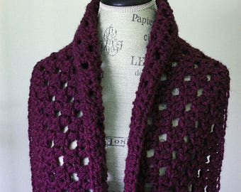 Purple infinity chunky scarf, crocheted scarf
