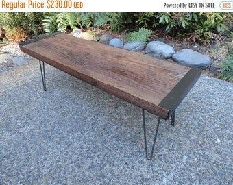 Limited Time Sale 10% OFF 4 ft Industrial outdoor entryway benches from reclaimed barn wood with hairpin legs