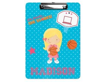 Personalized Kids Clipboard - Basketball Girl Blue Polka Dot Hoop Basketball, Single Sided or Double Sided Custom Clipboard Back to School