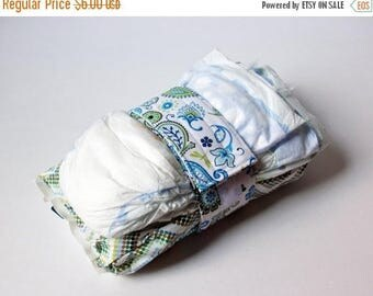 FINAL CLEARANCE Clearance Dragonfly Diaper Strap - Blue Dragonfly, Flower, and Paisley