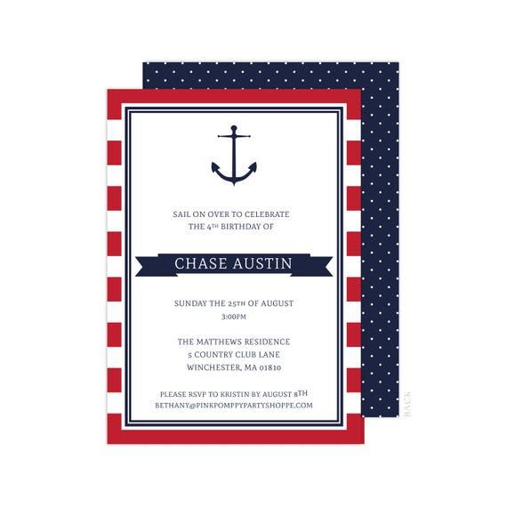 nautical invitation red anchor party nautical birthday nautical