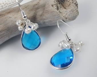 Quartz Dangle Earrings, Blue Crystal Earrings, Mystic Blue, Quartz Crystal Earrings, Bridal Earrings, Pearl Dangles, Freshwater Pearls