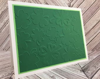 st. patrick's day cards, shamrock cards, embossed cards, embossed shamrocks, st. patrick's day thank you,  happy st. patrick's day, 4 cards