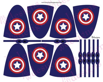 Captain America Lollipop Capes and Masks / Superhero Party / INSTANT DOWNLOAD / Printable
