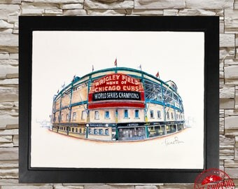 Chicago cubs Wall Art sports decor chicago cubs baseball decor