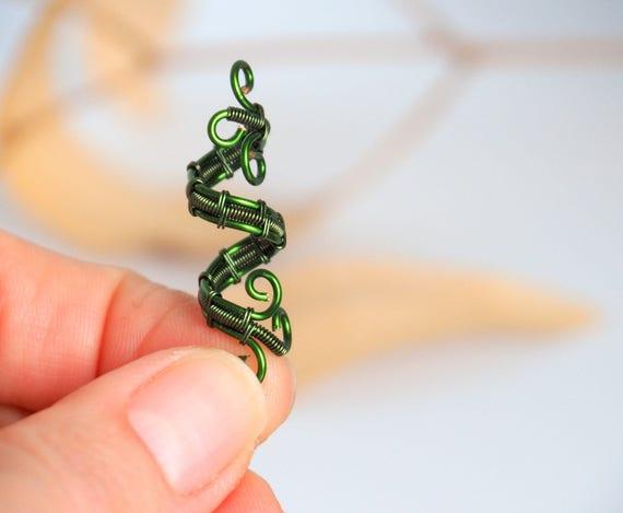 Dread hair bead green Viking Rasta deads dreadlock cuffs Wire wrapped locs accessories Beard beads loc braids jewelry Spiral Twister