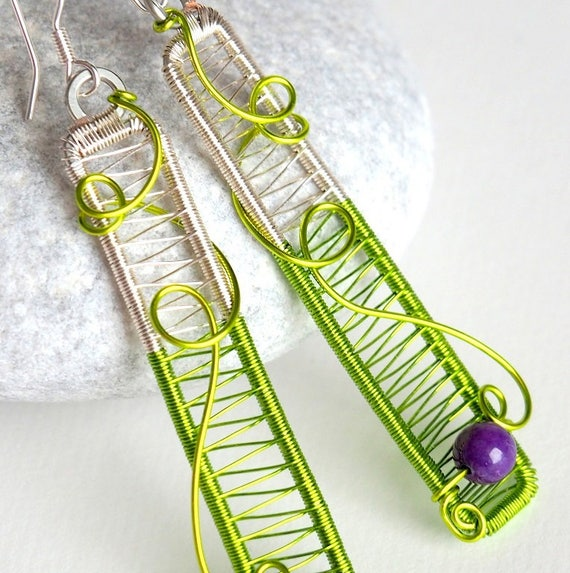 Statement earrings Bar Geometric Oversized Wire wrapped Green purple minimalist jewelry rectangle spring gifts for women her