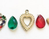 craft lot destash distressed salvaged vintage heart charms and teardrop rhinestones//red and green theme--mixed lot of 5
