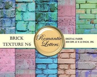 Sale 60% Brick Wall Textures digital paper pack  Scrapbook painted  brick background paper grunge texture