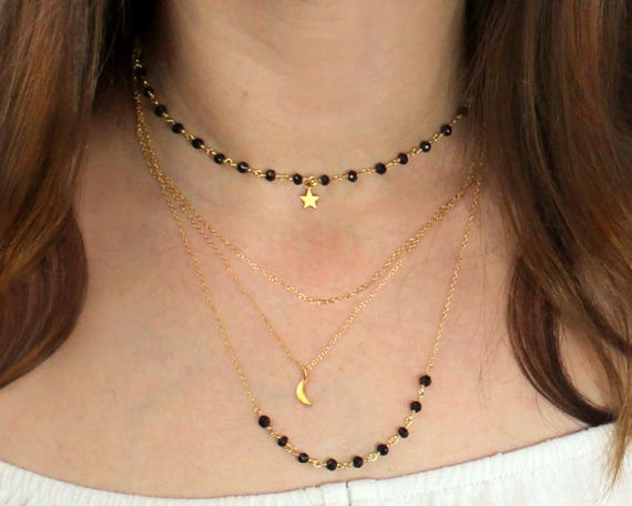 Multi Chain Choker. Moon and star Necklace, Black Spinel Necklace. Adjustable Necklace. Rosary Style Chain.  NCL2409
