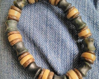 Jasper, Coral and Nutwood Heishi Stretch Bracelet