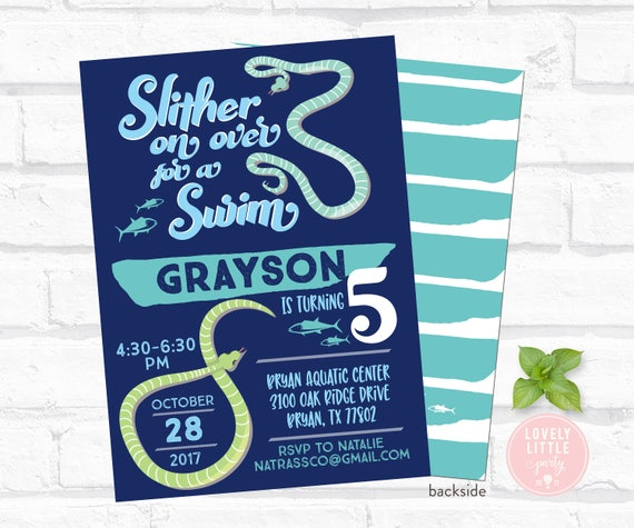 Snake theme Invite with optional thank you card - printable or printed options - Lovely Little Party