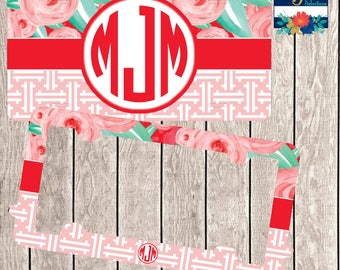 License Plate Frame ~ Red Roses Car Tag ~ Roses License Plate ~ Roses Car Frame ~ Monogram Car Frame ~ Monogram Car Tag ~ Vanity Car Tag