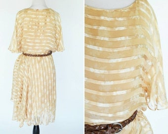 SUMMER SALE Vintage 70s Disco Silk Gold Dress - Flutter Sleeve 70s does 20s Striped Dress - summer frock - Fluttery Cocktail Party Dress - s