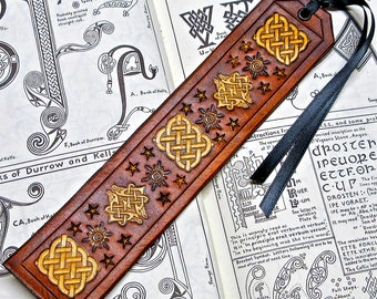 Leather Celtic Knot Bookmark in Golden Brown Leather, Handmade Sun and Celtic Knotwork, Antiqued Leather Bookmark with Black Ribbon (BK54)