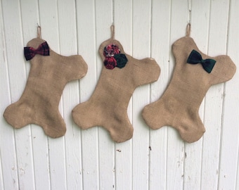 Burlap & Plaid Dog Bone Christmas Stocking With Rosettes OR Bow/Bow Tie- 2 Stocking Sizes Available-Red/Green/Plaid-Puppy/Dog Stocking