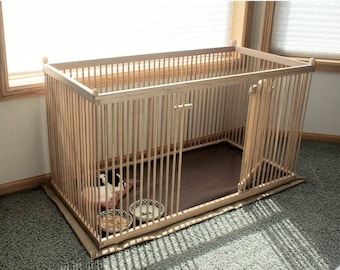 2'x4' Solid RED OAK Dog Crate. Waterproof, Machine-washable, Snap-on Floor Mat Doubles as the Carrying Case - Included!
