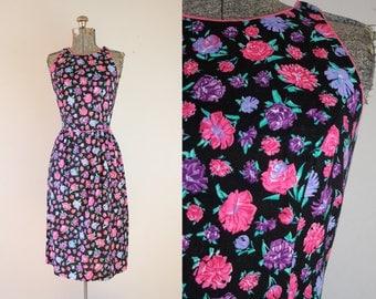 1980's Lanz Rose Print Sun Dress / Size Small