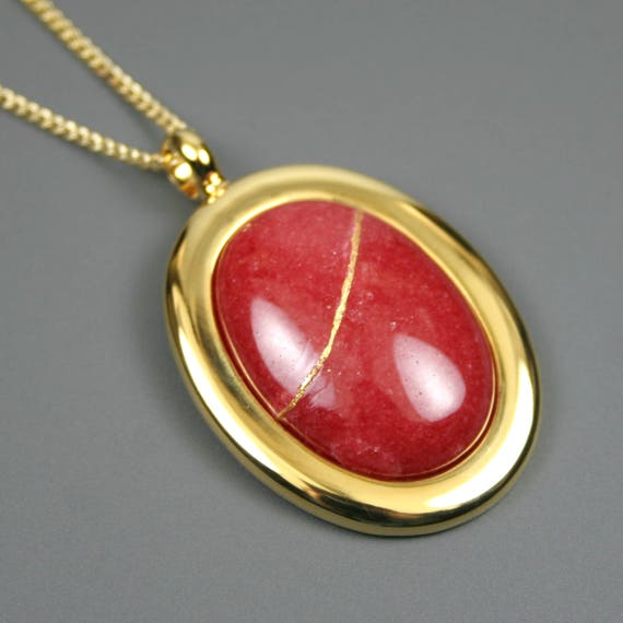 Kintsugi (kintsukuroi) red dolomite stone cabochon with gold repair in a gold plated setting on gold chain - OOAK