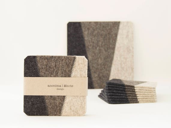 Set of felt coasters / square coasters / grey / grey coasters / modern home design / wool felt / gift idea / made in Italy