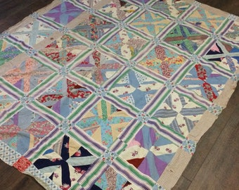Vintage Quilt Top / Handmade Quilt Top / Homemade Quilt Top / Hand Pieced Quilt Top / Geometric  Quilt Top / Feed Sack Quilt Top