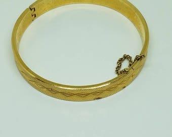 Vintage Gold Hinged Bangle Bracelet