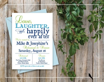 Rehearsal Dinner Invitation - Rustic Printable Wedding Rehearsal Dinner Invitation - Love, Laughter, Happily Ever After, Navy Blue Pool Blue