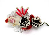 Vintage Christmas Craft Pick Corsage Santa Head Christmas Decoration 1950s
