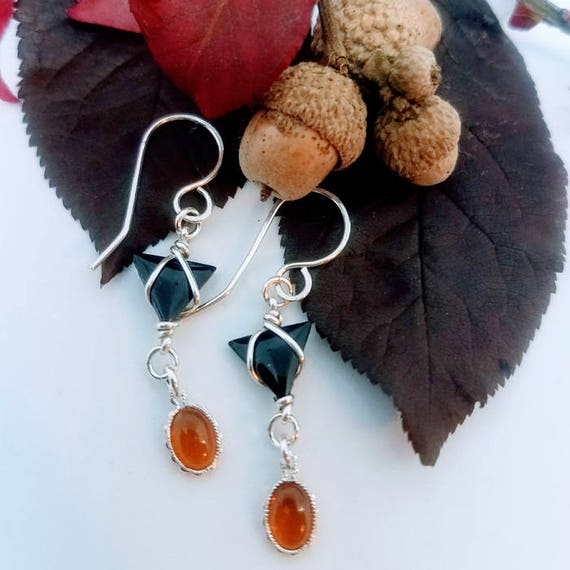 Oval Bezel Set Baltic Sea Amber And Triangular Black Onyx Argentium Sterling Silver Drop Dangle Earrings