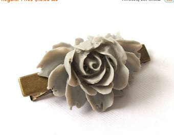 SUMMER SALE Vintage Style Beautiful Large Light Grey Hair Clip Antique Bronze Tone for Adults Formal Girls Wedding Bridesmaids