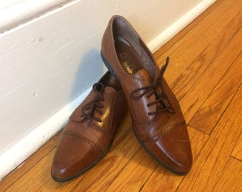 Vintage Leather Brogues Oxford Lace Up Shoes Womens 8