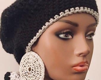 Large Crocheted Hoop Earrings/ Silver Sparkle