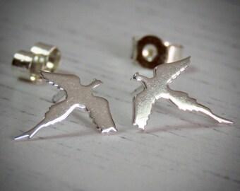 Handmade Sterling Silver Pheasant Stud Earrings
