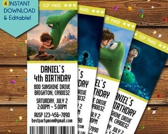 The Good Dinosaur Invitations, Good Dinosaur Birthday Invitation, Good Dinosaur Party Invite, Good Dinosaur Movie, Good Dinosaur Invite