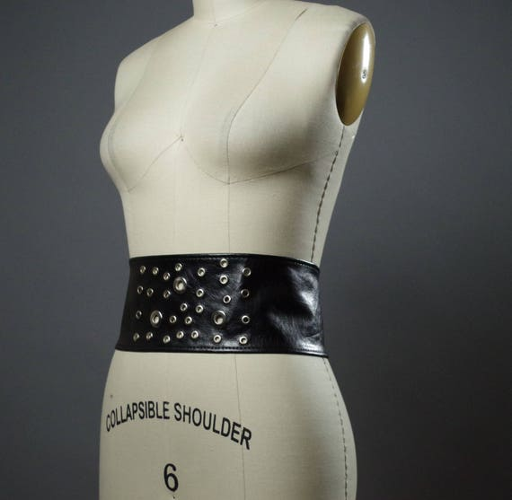 Vegan Leather Obi Belt - Black Leather Obi Belt - Women's Wrap Belt - Riveted Black Belt - Leather Belts
