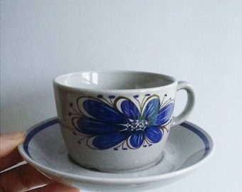 ON SALE Vintage Stavangerflint Cup and Saucer with brown and blue flower