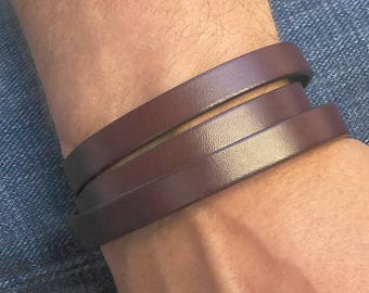 Brown Leather Wrap Bracelet, Brown Leather Bracelet, Wrap Around Bracelet, Triple Wrap Bracelet, Brown Cuff Bracelet, Mens Brown Bracelet