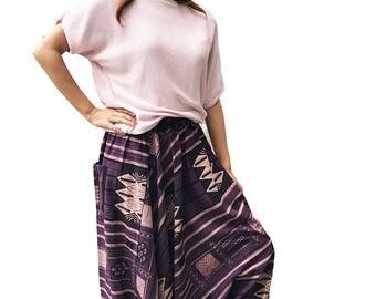 Harem Pants, Hmong Pants, Triangle Pants, Baggy Pants, Bohemian Pants in Cotton Printed