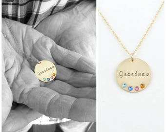 Birthstone Mom Necklace, Custom Necklace, Grandma Gift, Personalized Meemaw Gift, Gold Disc Necklace,Personalized Jewelry, Cherished