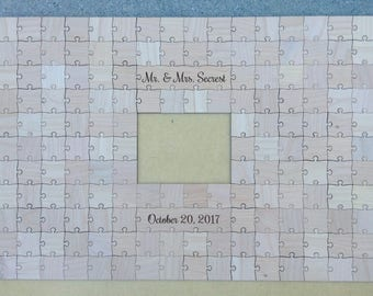 150 pcs Picture Frame Puzzle Custom Wedding Guest Book Puzzle for 5 x 7 Photo with 150 Mixed Grain Pieces