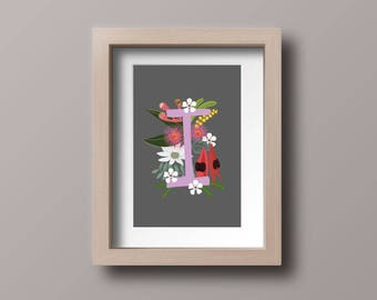 CUSTOM FLORAL Initial, Name, Personalised Flower Print, Australiana, Australian Flowers, Alphabet, Initials