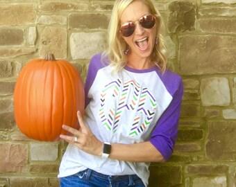 Holiday Print Monogram Raglan Shirt - Halloween Pattern Monogrammed Raglan Tee - Print Monogram Baseball Tshirt - Monogram Raglan Shirt
