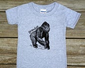 SALE Personalized Jungle Gorilla Safari Birthday Party Shirt T-shirt Bodysuit - Shirt in White, Grey, Blue, Pink