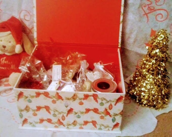Featured listing image: Large Holiday Gift Box: Organic Pure Religion items (Goats milk soap, bath bombs, salt scrubs, soy candles, lip scrubs, body butter)