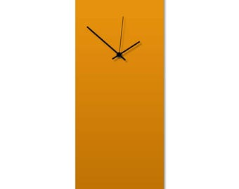 Contemporary Clock 'Orangeout Clock' by Adam Schwoeppe - Original Orange Kitchen Clock Minimalist Wall Decor on Aluminum Polymetal