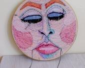 STRAWBERRY MOON, Upcycled Embroidery Hoop Art, Vintage Hoop, Vintage Textile, Pink, Purple, Orange, Black, Blue, Peach Large Embroidery