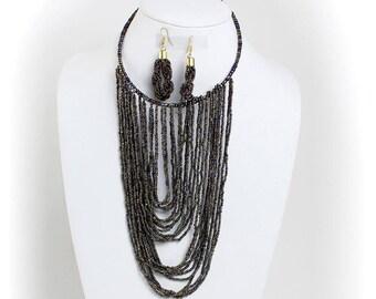 Metallic  Beaded Fringe Choker/Earring Set