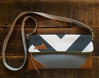 Crossbody/Reversible/gray & white chevron print with gray canvas reverse/Mountain patch bag/Large clutch/Detachable strap/vegan leather
