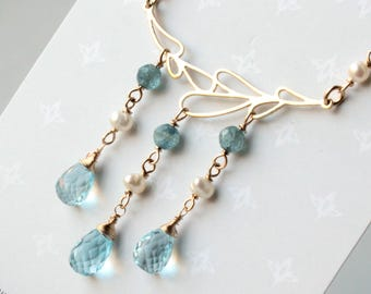 Blue Topaz Necklace, Goldfilled wire wrapped light blue gemstone, boho luxe, white pearls, blue kyanite, gift, december birthstone, 4464